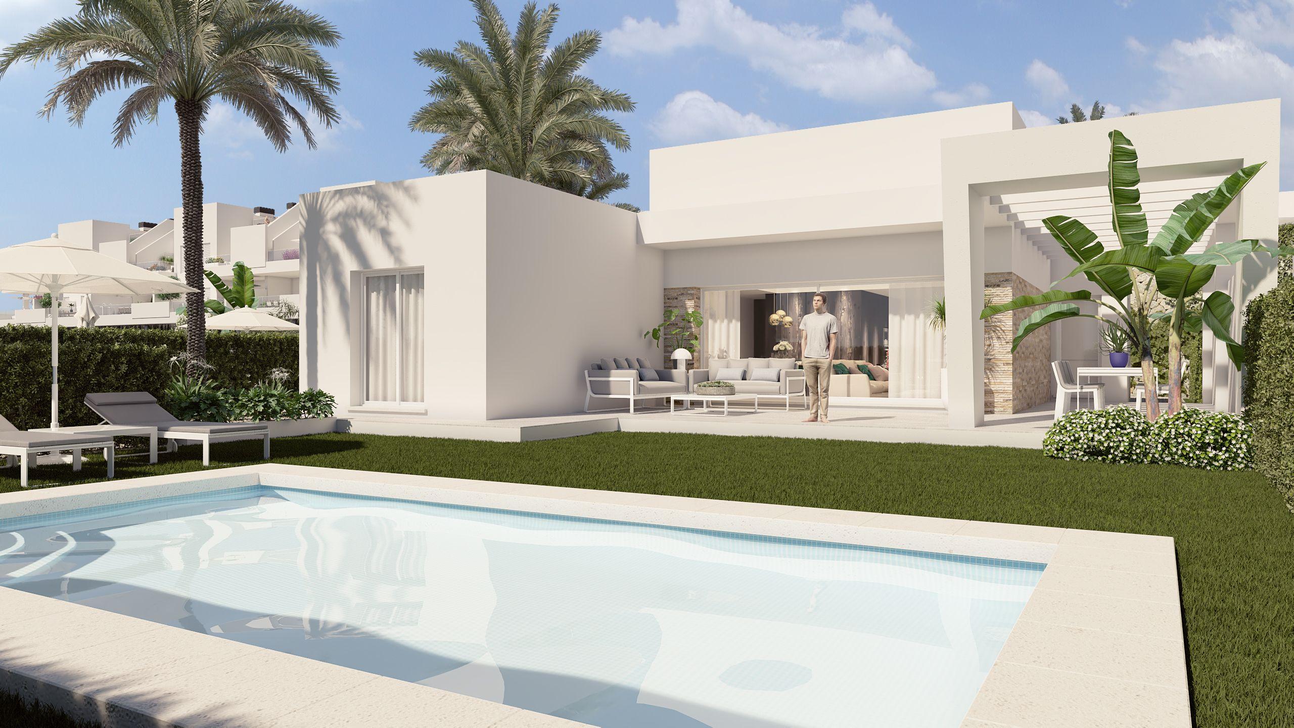 Frittstående villa på ett plan med privat svømmebasseng i gåavstand til La Finca Golf
